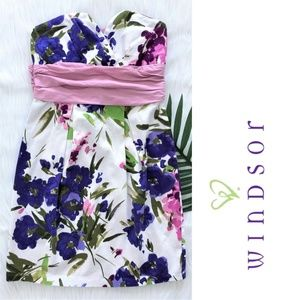 WINDSOR mini flower strapless dress with bow S